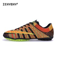 Zenvbnv 2018 New Design Indoor Men Soccer Shoe Cleats Kids Turf Football Shoes Boy TF Hard Court Sneakers Trainers Sports Shoes