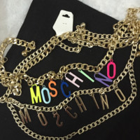 Moschino new fashion letter waist chain women belt