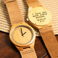 Wood Engraved Watch Personalized Watch; Gift for Him, Anniversary, Weddings, Groomsmen, Best Man, Christmas for Him, Wooden Watch W#63