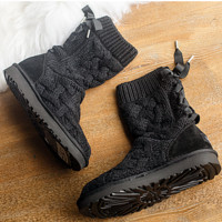 """""""UGG"""" female fashion wool snow boots wool shoes Black"""