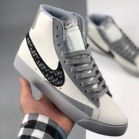 Dior x Nike Blazer joint high-top all-match trend board shoes men and women casual sports shoes