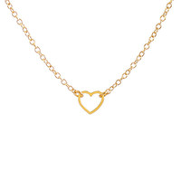 Tiny Heart Outline Necklace