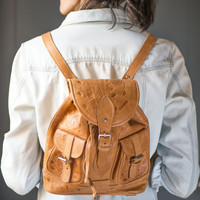 Tooled genuine leather rucksack – cappuccino brown backpack vintage – boho fashion backpack floral -hippy backpack tan leather\lining inside