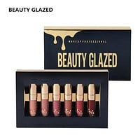 6Pcs set  Liquid Matte Lipstick Easy To Wear Long-lasting Lip Gloss Waterproof Nude Lip Lipsticks Make up