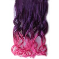 "26"" Colorful Wavy Synthetic Fiber Hair Extensions Long curly Gradient Hairpiece"