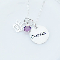 Personalized Necklace -Hand Stamped Princess Necklace - Girls Custom Charm Necklace - Gift for Her