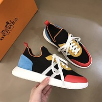 HERMES  Men Fashion Boots fashionable Casual leather Breathable Sneakers Running Shoes0425cx