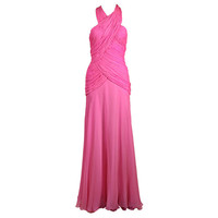 Arnold Scaasi - 1980's Scaasi Hot Pink Chiffon Halter Gown