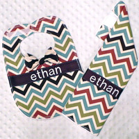 Personalized Burp Cloth and Bib Set with Dapper Bow Tie - Baby Boy Blue Brown Rust and Green Chevron