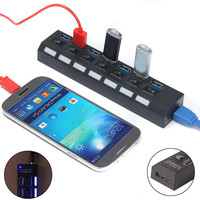 7-port USB 3.0 Charger with Individual On/Off Switches For PC/Computer/Laptop/Phone Charger Hub