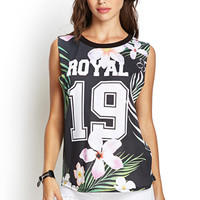 Royal Floral Jersey Top