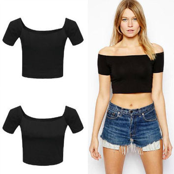 Black Letter Print Fringed Muscle Crop Shirt