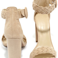 Simple Things Natural Suede Ankle Strap Heels