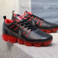 KUYOU N317 Nike Air Vapormax Flyknit Leather Casual Running Shoes Black Red