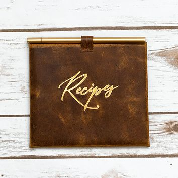 Leather Recipe Envelop and Cards