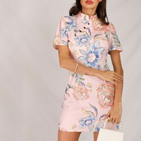 Floral Print Mandarin Collar Dress