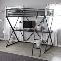 Black Metal Twin size Bunk Bed Loft with Desk and Ladder