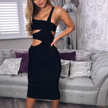 Pia- Black Bodycon Bandage Midi Dress