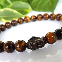 Men's Tiger Eye Bracelet, Men's Buddha Bracelet, Men's Gemstone Bracelet, Gift for Him, Men's Bracelet, FREE SHIPPING