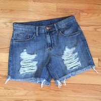 Distressed Denim 5-Pocket Shorts