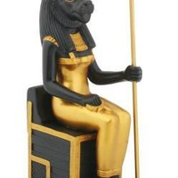 Sekhmet Seated Egyptian Warrior and Healing Goddess Statue 7.25H