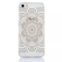 Clear Plastic Phone Shell White Floral Paisley Flower Mandala Case Cover for iPhone 5 5S SE 5C 6 6S 6Plus 6S plus