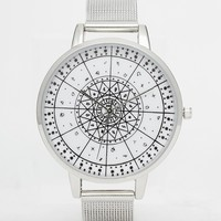 ASOS Mesh Strap Watch with Monochrome Print