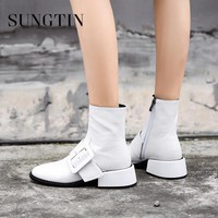 Sungtin Solid White Genuine Leather Riding Punk Boots Mid Heel Women Ankle Boots Winter Warm Womens Short Boots Ladies Booties