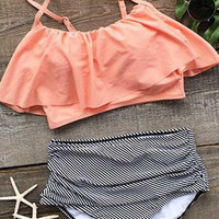 Cupshe Seaside Gale Falbala High-waisted Bikini Set