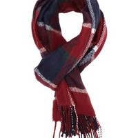 Oxblood Plaid Fringe Wrap Scarf by Charlotte Russe