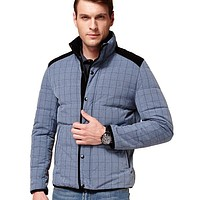 Plaid Casual Men Duck Down Cardigan Jacket Coat