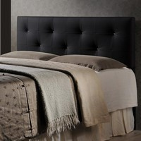 Baxton Studio Dalini Modern and Contemporary Full Black Faux Leather Headboard with Faux Crystal Buttons Set of 1