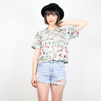 Vintage 80s Crop Top Mickey Mouse Shirt Minnie Mouse Cartoon Kawaii Print Button Down Tshirt Disney Comic Strip Top New Wave Rainbow S M