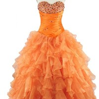 Sunvary 2015 Orange Ball Gown Prom Dress Quinceanear Dress with Ruffles - US Size 4- Orange