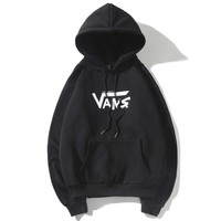 VANS autumn and winter models street fashion cartoon casual long-sleeved hooded sweater black