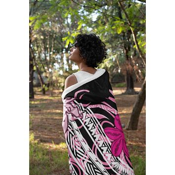 Pink Tribal Floral Hooded Blanket