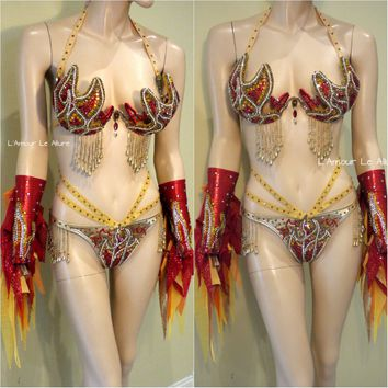 Gold and Red Girl On Fire Flame Samba Bra and Bottom with Arm Bands Dance Cage Rave Bra