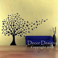 Huge Butterfly Tree Vinyl Wall Decal With Trailing Butterflies