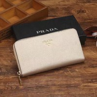 One-nice™ Prada Women Leather Zipper Wallet Purse