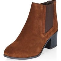 Wide Fit Tan Leather Chelsea Boots