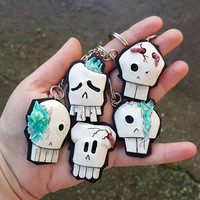 Key chain 3D skull fashion spooky polymer clay geekery hand made gag gift funny humor for her him women men birthday christmas