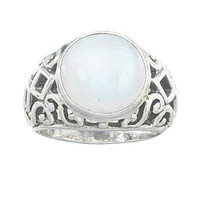 Sterling Silver Large Moonstone Ring with Open Ornate Design