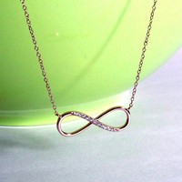 Infinity Necklace-Sterling Silver Necklace With Hand Set Cubic Zirconi