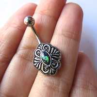 Green Opal Belly Button Ring Navel Piercing Shield Medallion Bar