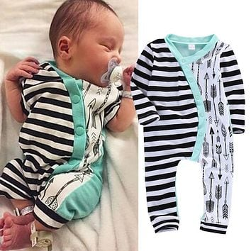 Infant Baby Girl Boy Clothes Rompers Long Sleeve Stripe Cute Romper Jumpsuit Outfits Baby Boys Girls Clothes