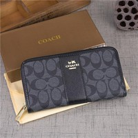 """Coach"" Women Multifunction Purse Clutch Fashion Multicolor Classic Letter Logo Print Long Section Zip Wallet"