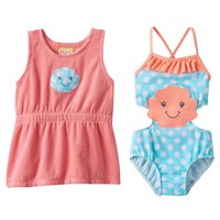 Baby Buns Seashell Monokini Swimsuit & Cover-Up Dress Set - Baby Girl, Size: