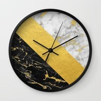 Marble Mix // Gold Flecked Black & White Marble Wall Clock by Samantha Ranlet | Society6