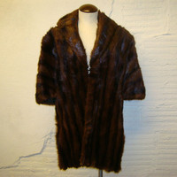 Mink Shawl Fur Coat Vintage 1950s Dark Brown