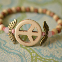 Wings & Howlite Peace Sign Stretch Bracelet